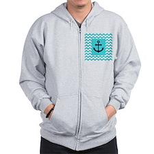 Anchor in Navy and Aqua Zip Hoodie