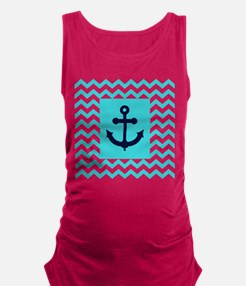 Anchor in Navy and Aqua Maternity Tank Top