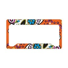 Sugar Skull Orange License Plate Holder