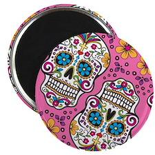 Sugar Skull Pink Magnets