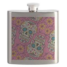 Sugar Skull Pink Flask