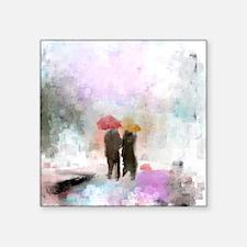 "Meeting in the Rain Square Sticker 3"" x 3"""