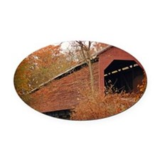 Covered Bridge Oval Car Magnet