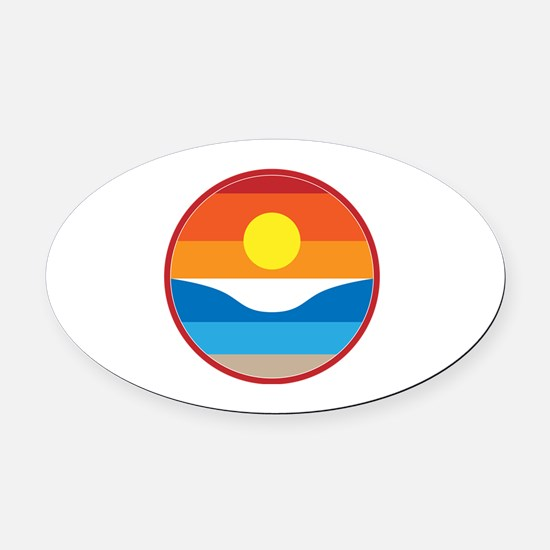 Horizon Sunset Illustration with C Oval Car Magnet