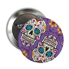"""Sugar Skull Purple 2.25"""" Button"""
