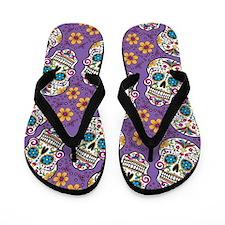 Sugar Skull Purple Flip Flops