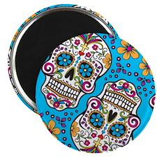 Sugar Skull Teal Magnets