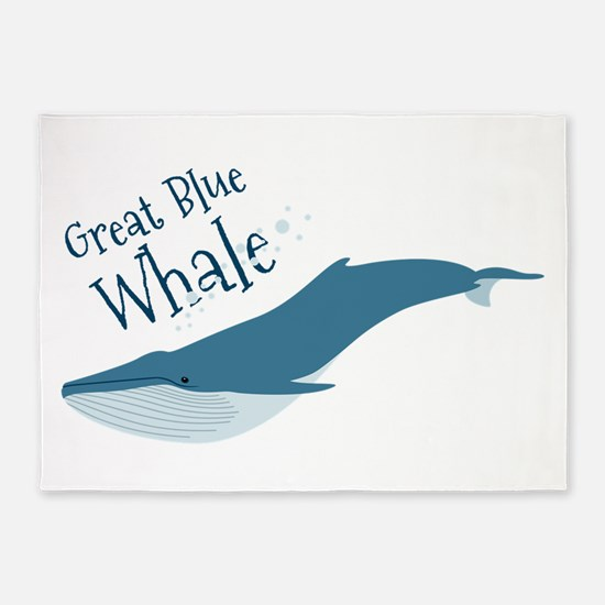 Great Blue Whale 5'x7'Area Rug
