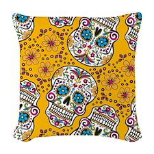 Sugar Skull Yello Woven Throw Pillow