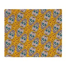 Sugar Skull Yello Throw Blanket