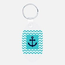 Anchor in Navy and Aqua Keychains