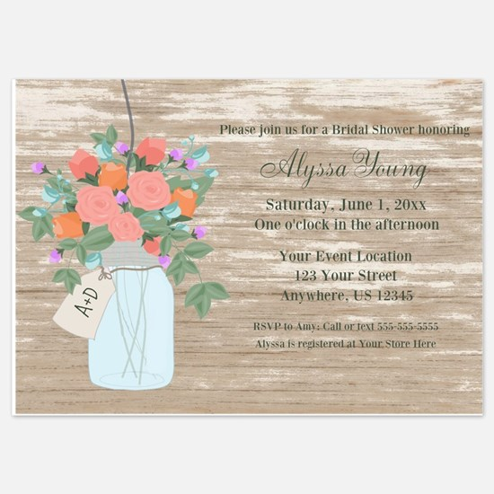 Rustic Mason Jar Shower Invite Invitations
