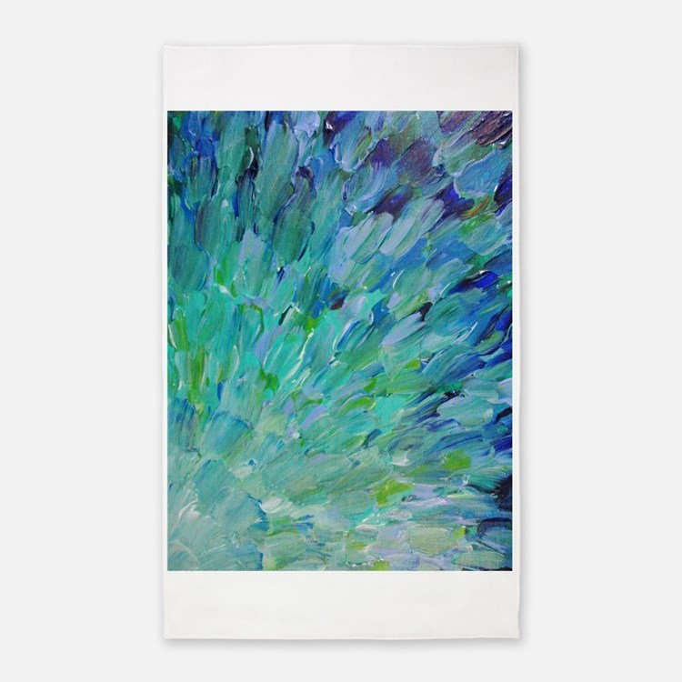 Sea Scales - Ombre Teal Ocean Abstract 3'x5' Area