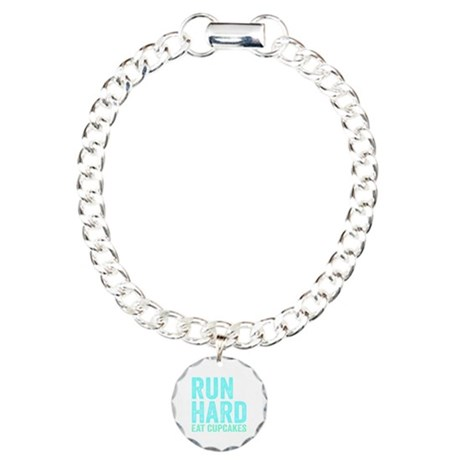 Run Hard Eat Cupcakes Charm Bracelet, One Charm