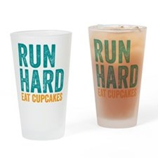 Run Hard Eat Cupcakes Drinking Glass