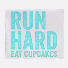 Run Hard Eat Cupcakes Throw Blanket