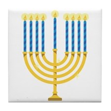 Hanukkah Menorah Tile Coaster