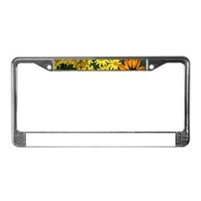 Yellow Flowers Photo Collage License Plate Frame