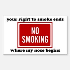 No Smoking Sign Rectangle Decal