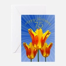 75th Birthday card, tulips full of sunshine Greeti