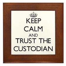 Keep Calm and Trust the Custodian Framed Tile