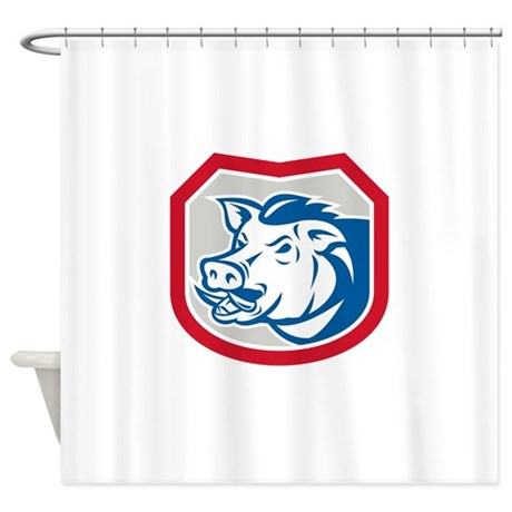Wild Pig Razorback Head Shield Retro Shower Curtai