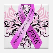I Wear Pink for HopeFaithCure Tile Coaster