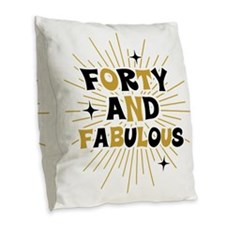 Retro Star Burst 40th Birthday Burlap Throw Pillow