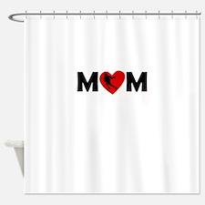 Lacrosse Heart Mom Shower Curtain