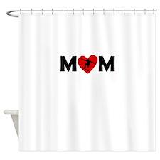 Skateboarding Heart Mom Shower Curtain