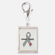 Diabetes Personalized Ribbon Silver Portrait Charm