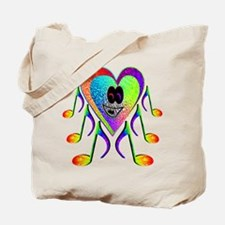 Rainbow I Love Music Spider - Tote Bag