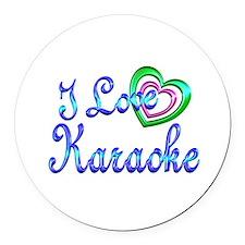 I Love Karaoke Round Car Magnet