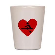 Rowing Heart Shot Glass