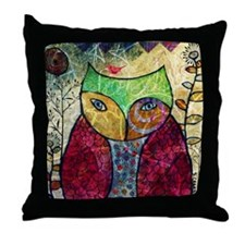 Swirly Owl Collage Throw Pillow