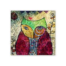 "Swirly Owl Collage Square Sticker 3"" x 3"""