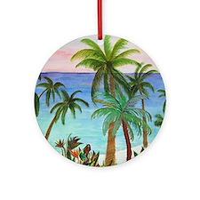 Aqua beach tropical art Round Ornament