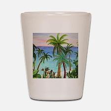 Aqua beach tropical art Shot Glass