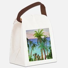 Aqua beach tropical art Canvas Lunch Bag