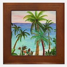 Aqua beach tropical art Framed Tile