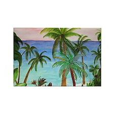Aqua beach tropical art Rectangle Magnet