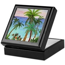 Aqua beach tropical art Keepsake Box