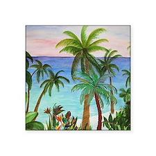 """Aqua beach tropical art Square Sticker 3"""" x 3"""""""