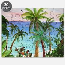 Aqua beach tropical art Puzzle