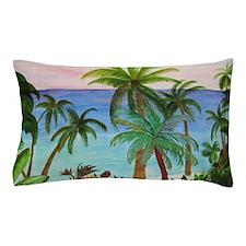 Aqua beach tropical art Pillow Case