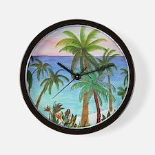 Aqua beach tropical art Wall Clock