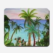 Aqua beach tropical art Mousepad