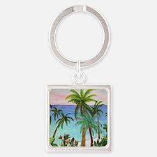 Aqua beach tropical art Square Keychain