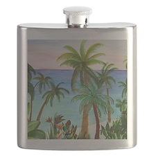 Aqua beach tropical art Flask
