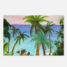 Aqua beach tropical art Postcards (Package of 8)